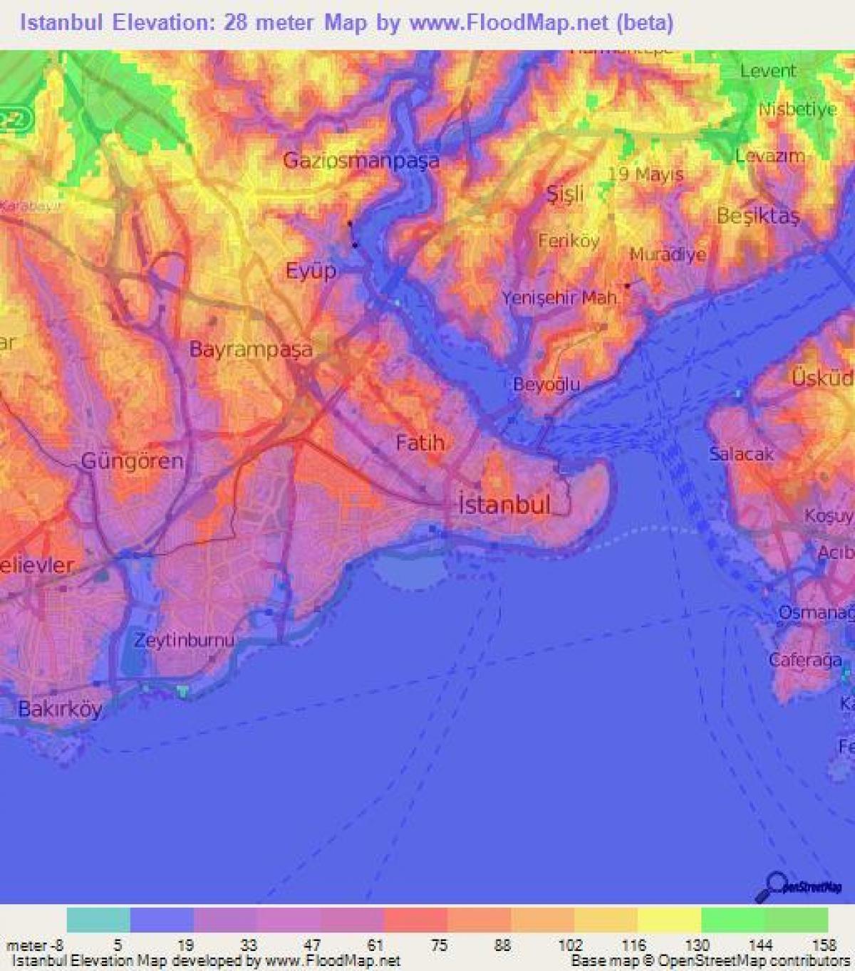 Istanbul Topografisk Kort Kort Over Istanbul Topografiske Tyrkiet